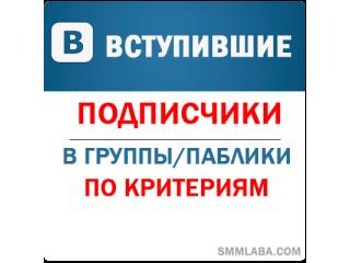 ВКонтакте - Вступившие\Подписчики в паблик\группу. Качество! Без собак и списаний! По критериям. (цена за 100 штук - 119 руб.)