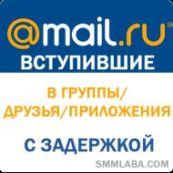 Мой Мир - вступившие в Сообщества/Приложения/Друзья с задержкой (от 80 руб. за 1.000 штук)