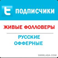 Twitter - Подписчики/фолловеры офферные (25 руб. за 100 штук)